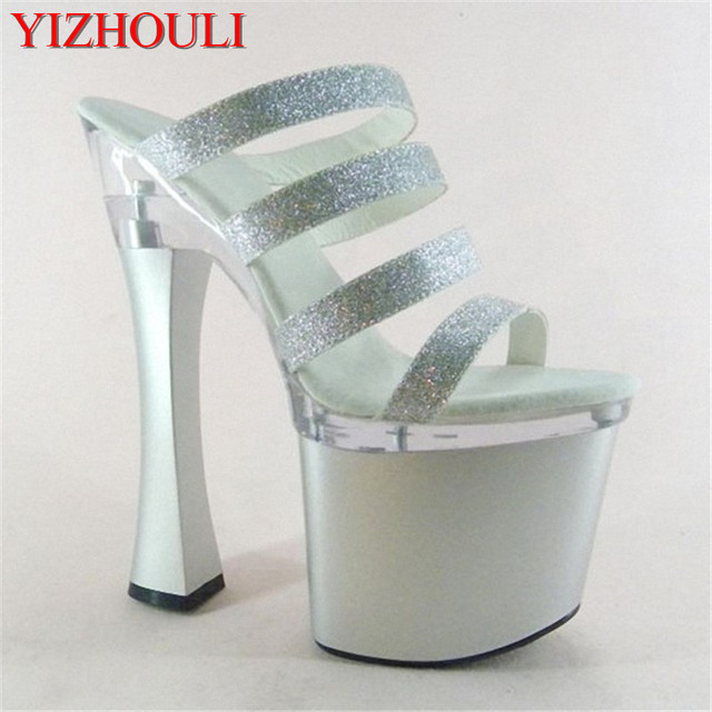 88415462a7e7 Sexy Glitter 18cm Ultra High Heels Sandals Fashion 7 Inch Platforms Shoes  Spool Heel Dance Shoes Party Slippers
