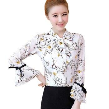 360ef4e5268 Для женщин элегантные расширяющиеся к низу рукава бантом воротник шифона с  принтом Blusas Цветочные женские топы и рубашки T6