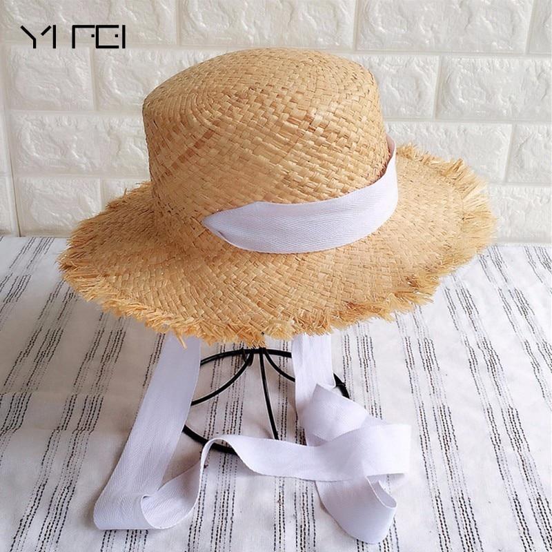 2018 Summer Women Outdoors Sunshade Straw Hat Beach Hat Foldable Hat Handmade Weave Raffia Sun Hats For Women