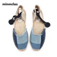 MINMCLAS INS Feeler Women Sandals Summer Shoes Denim Flat Sandals Women Lace Up Espadrilles Sandals for Girls Shoes Alpargatas