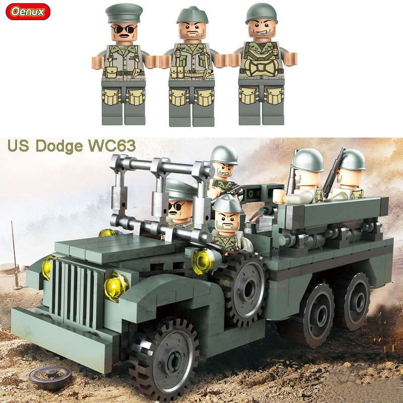 Oenux WW2 Military Classic US Dodge WC63 Personnel Carrier Vehicle Model Buidling Block Tunisia Campaign US Army Military Toy