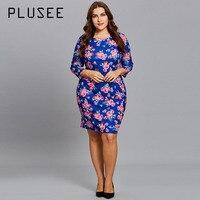 Plusee Dress Plus Size 6 XL Women 2018 Three Quarter Sleeve Bodycon Floral O Neck Print