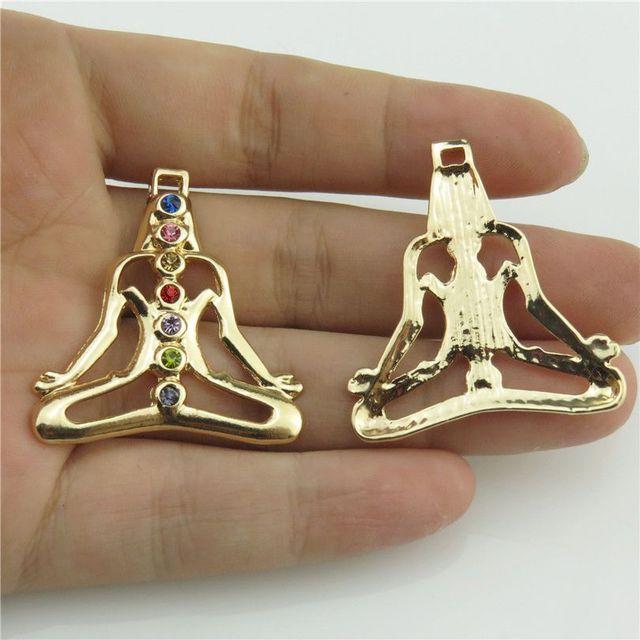 20368 2pcslot gold jewelry crafts hindu chakra colorful stone 20368 2pcslot gold jewelry crafts hindu chakra colorful stone rhinestone buddha lady yoga pendant mozeypictures Image collections