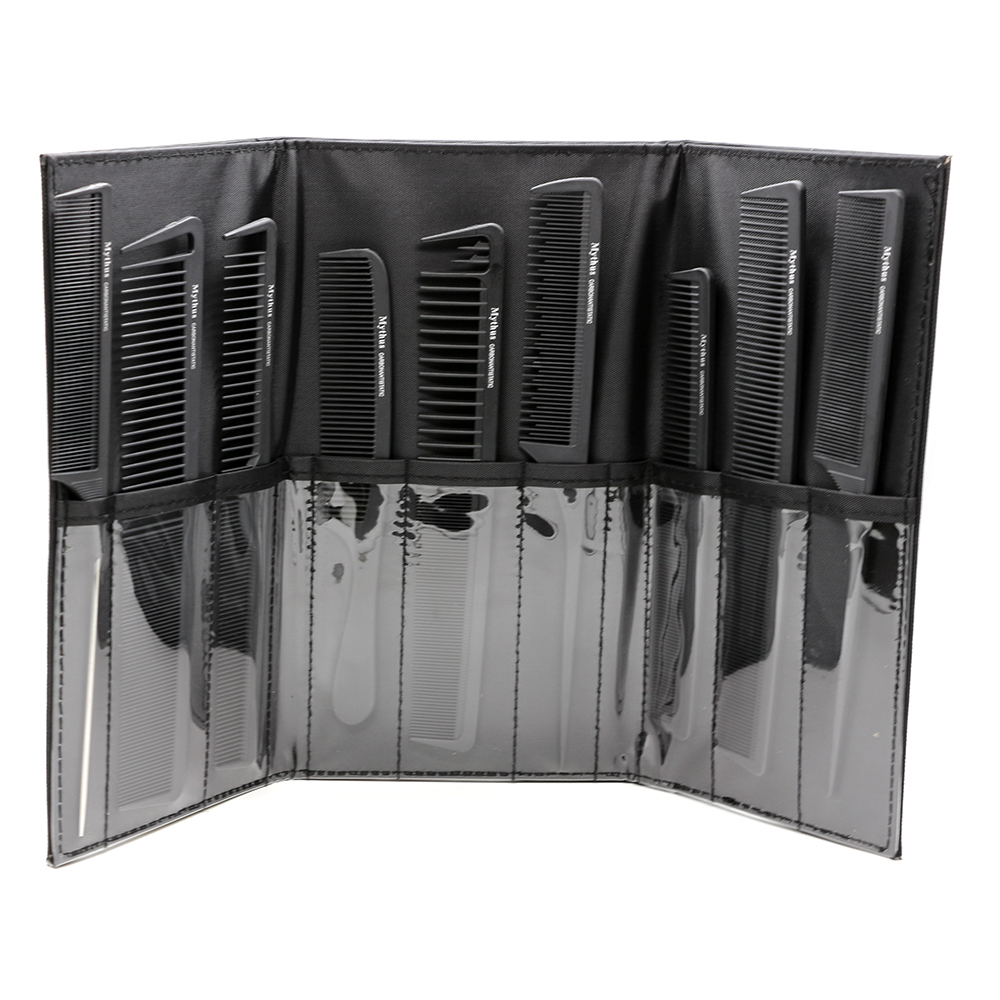 Popular Professional Hairdressing Carbon Combs Set, 9pcs Combs Set With Bag In High Quality, Carbon Fibre Comb Heat-resistant