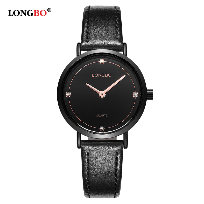 Fashion LONGBO Luxury Brand Diamonds Elegant Men Ladies Dress Wristwatches Analog Quartz Watch Casual Leather Couple Watch in Lover 39 s Watches from Watches