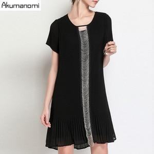 Image 2 - Estate Drappeggiato Del Vestito Abbigliamento Donna Nero O Collo Manica Corta Che Borda Il Vestito di Alta Qualità di Modo Più Il Formato 5XL 4XL 3XL 2XL XL L M