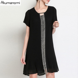 Image 2 - Summer Draped Dress Women Clothing Black O neck Short Sleeve Beading Dress High Quality Fashion Plus Size 5XL 4XL 3XL 2XL XL L M