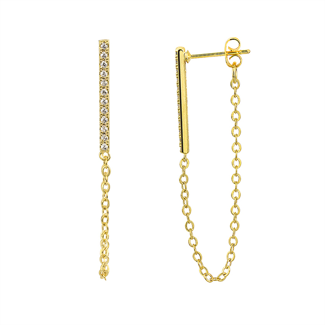 Stainless Steel Long Chain Earring Bohemian Jewelry Gold Color Bar Charm Drop Statement Earrings For Women.jpg 640x640 - Stainless Steel Long Chain Earring Bohemian Jewelry Gold Color Bar Charm Drop Statement Earrings For Women Wedding Accessoires