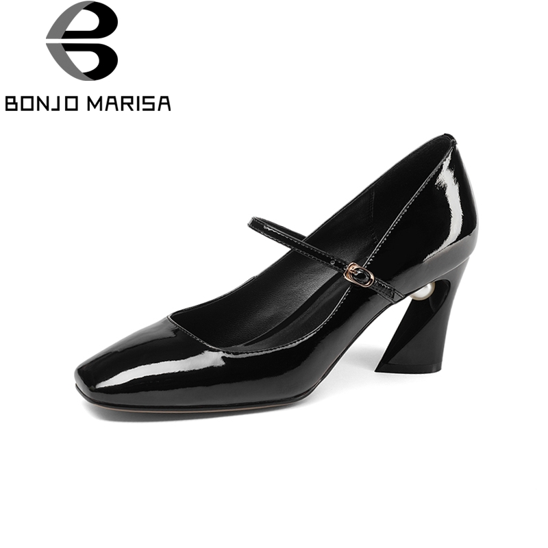 BONJOMARISA New Mary Janes Genuine Leather Square High Heels Buckle Strap Shoes Woman Concise Spring Pumps Big Size 33-43 xiaying smile woman pumps shoes women mary janes british style fashion new elegant spring square heels buckle strap rubber shoe