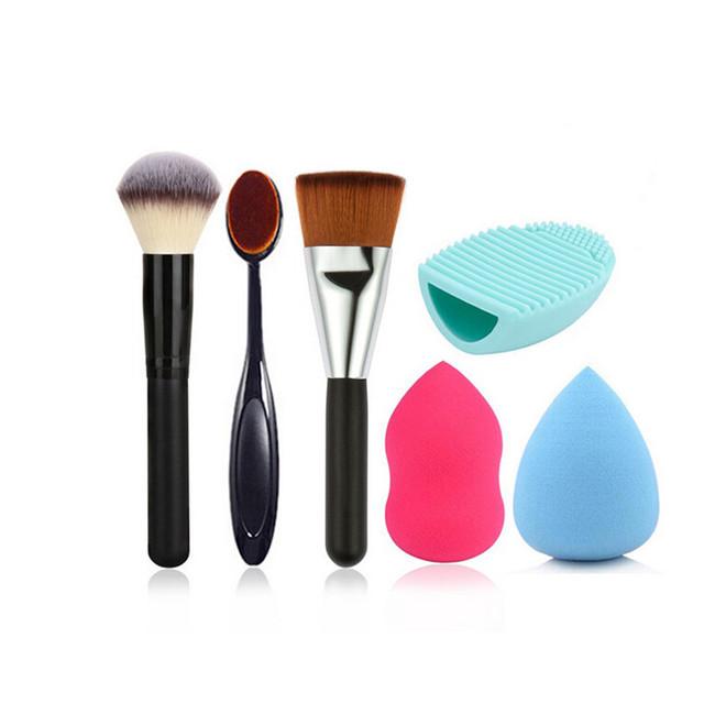 Forma Oval estilo escova de dentes fundação creme em pó pincel de maquiagem + beleza esponja queda sopro liquidificador + luva de silicone escova ovo