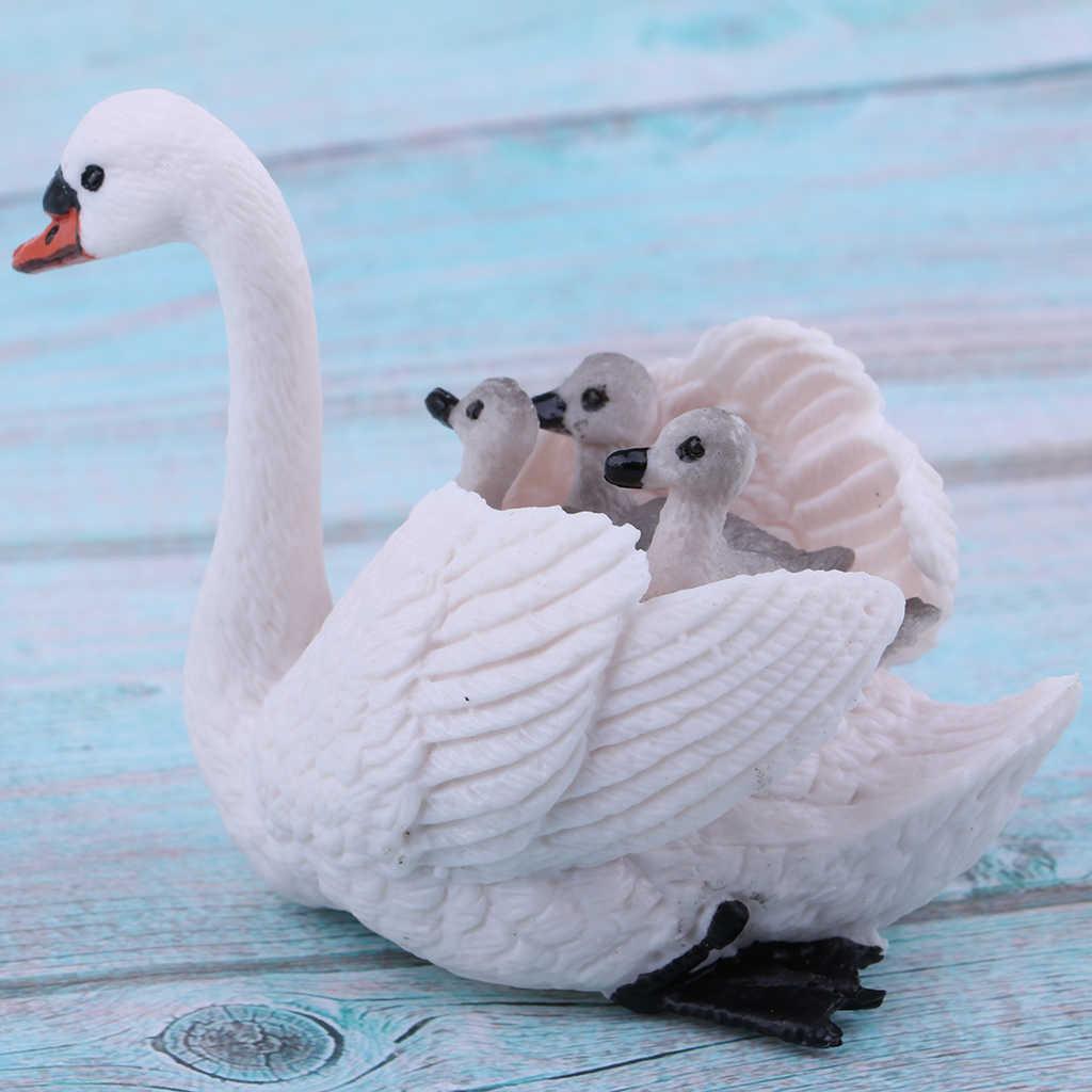 Realista Figurines Cisne Branco com Bebês Figuras de Animais, Ovos de Páscoa chapéus de Coco Do Bolo de Natal Presente de Aniversário