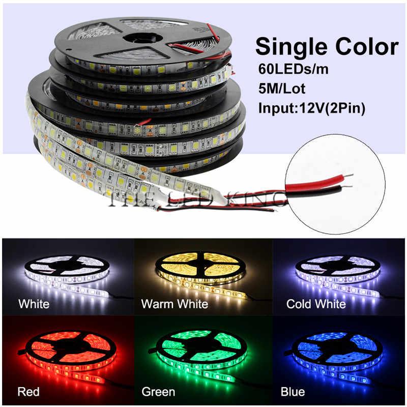 Negro placa PCB 5050 tira LED RGB 5 M IP65 cinta Led impermeable 300 LEDs/rollo + 44 llaves control remoto IR