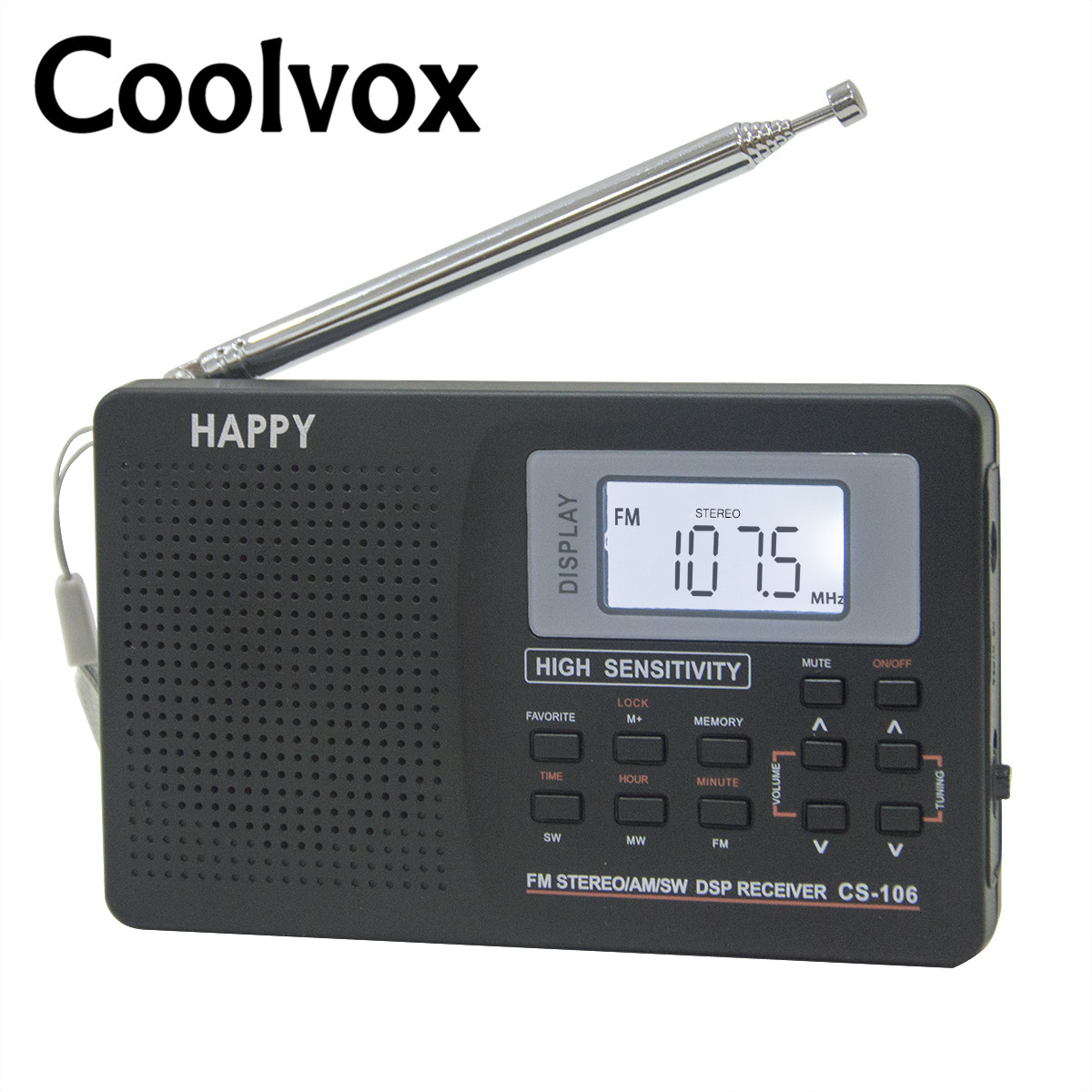 Coolvox CS-106 Full-band Multiband Stereo Digital Tuner FM / AM / SW / LW / TV Bunyi Band penuh Band Penerima Antena Radio dengan Earphone
