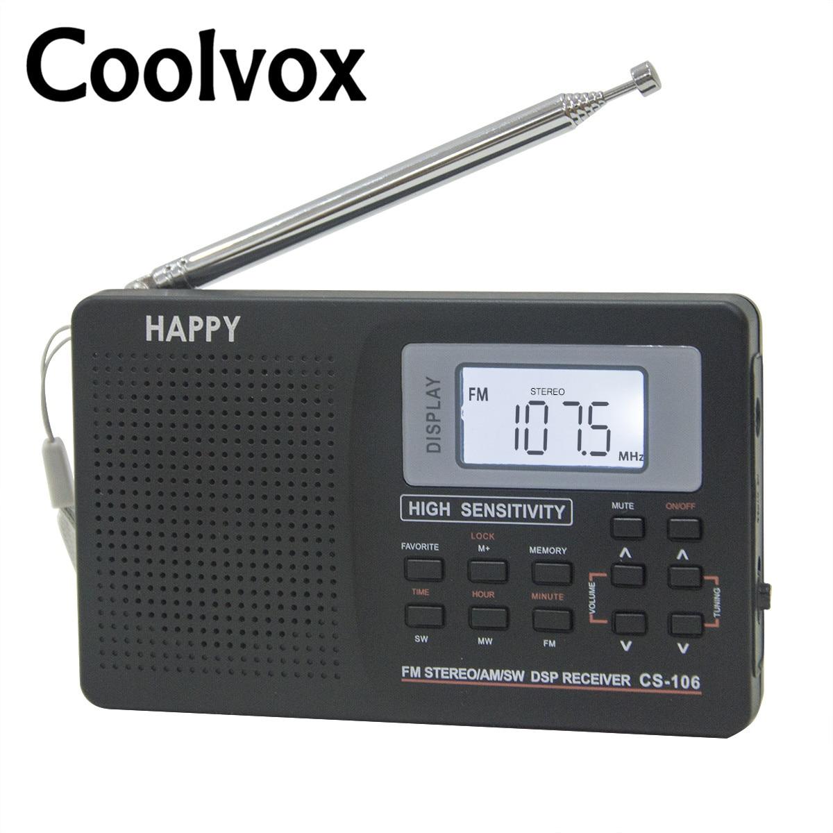 Coolvox CS-106 banda completa Multiband estéreo sintonizador Digital FM/AM/SW/LW/TV sonido banda de onda completa receptor antena de Radio con auriculares