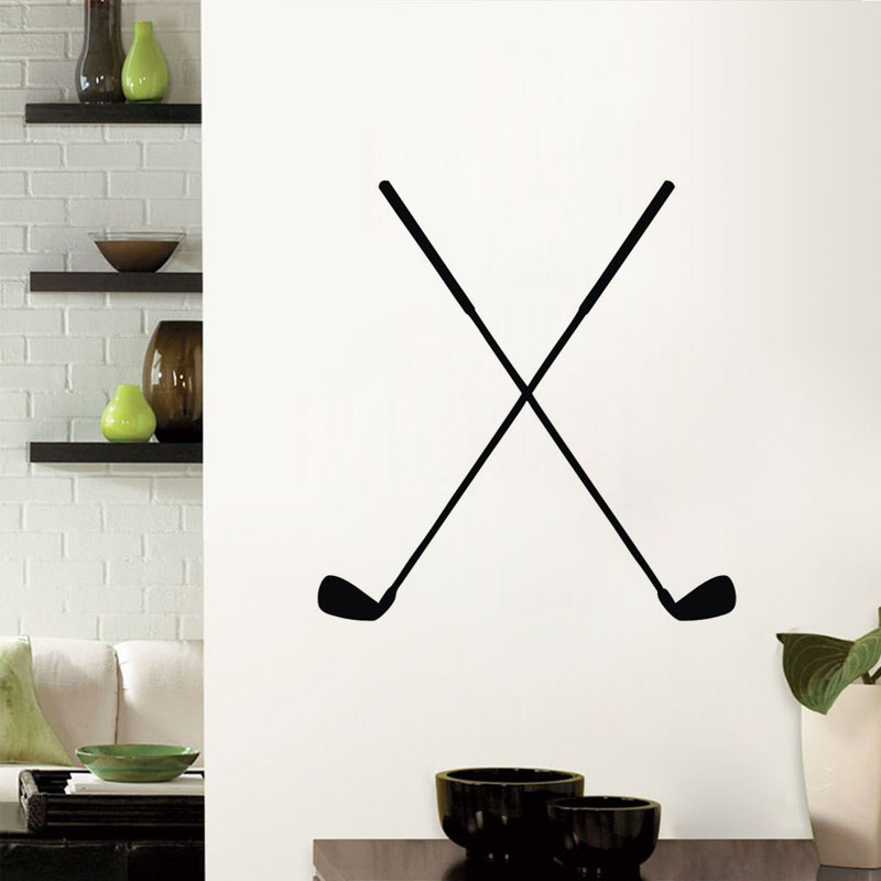 Double Golf Club Wall Stickers Home Decor Living Room Wall Decorative Vinyl  Sticker Removable Decals forCompare Prices on Golf Window Decals  Online Shopping Buy Low  . Golf Decorated Rooms. Home Design Ideas