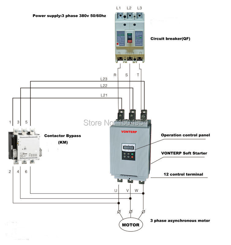 Soft starter wiring diagram soft starter compressor for Single phase motor soft starter