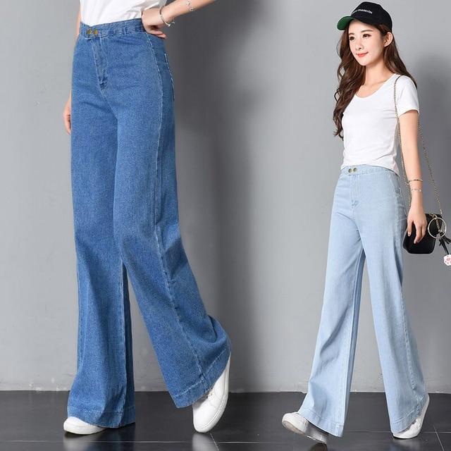 8d445c8de8a Sexy Loose High Waist Flare Women Jeans Fashion Wide Leg Bottom Blue Skinny  Denim Autumn Jeans Retro Women Pants Trousers 2019