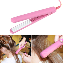 Mini Pink Ceramic Electronic Hair Straightener Iron Chapinha Straightening Corrugated Irons Hair Crimper Styling Tools 100~240V