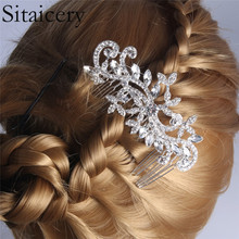 Sitaicery Elegant Wedding Hair Combs For Bride Crystal Rhinestones Pearls Women Hairpins Bridal Headpiece Jewelry Accessories
