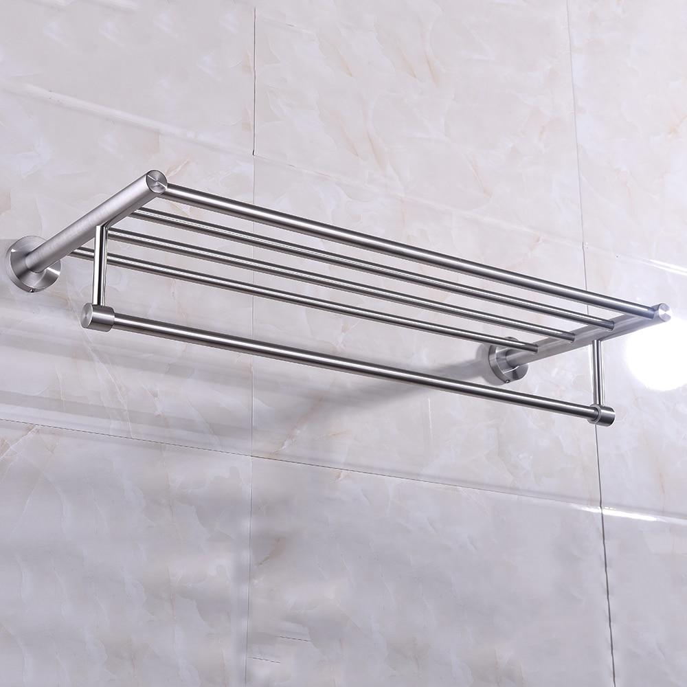 Wall mounted towel rack brushed stainless steel bathroom - Bathroom wall cabinet with towel rack ...