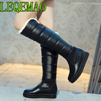 Russia winter boots women warm knee high boots round toe down fur ladies fashion thigh snow boots shoes waterproof botas