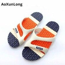 Summer Beach Men's Sandals Flat Bottom Massage Home Slippers PVC Non-Slip Men Slippers Blue Flip Flop Size 40/44 Men Flip Flops