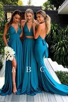 Чирок глубоким v образным вырезом платья подружки невесты без рукавов несоответствие Дешевое платье невесты