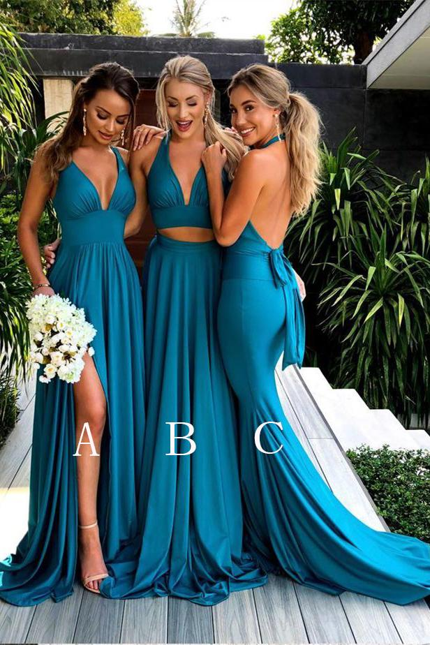 Teal Deep V Neck Sleeveless   Bridesmaid     Dresses   Mismatched Cheap   Bridesmaid   Gown