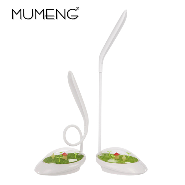 MUMENG Creative Grass green desk lamp scenery Touch sensor USB charging Charge table light Dimmerable Flexible Children reading