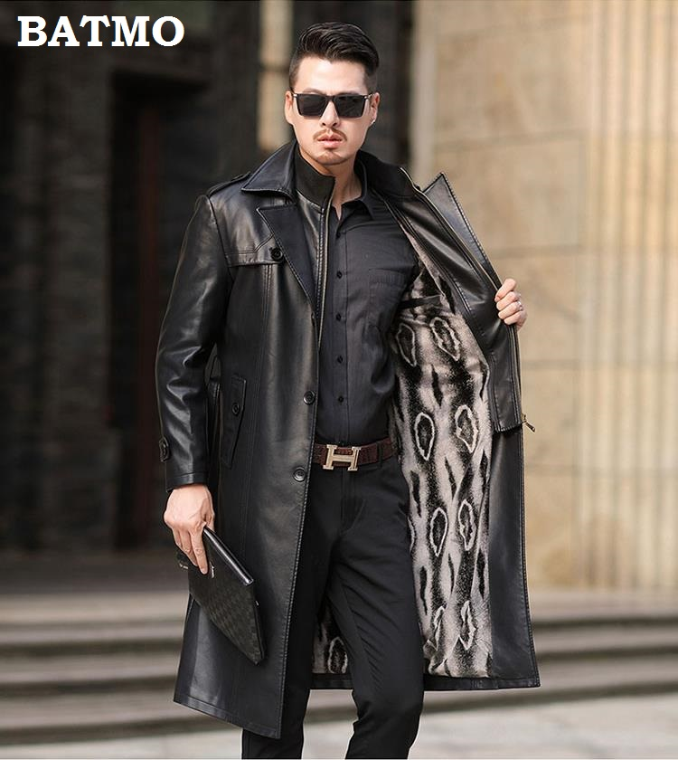 HTB1B2jfef1H3KVjSZFHq6zKppXa8 Batmo 2019 new arrival autumn&winter real Leather thicked trench coat men,Leather jacket men,plus-size S-5XL