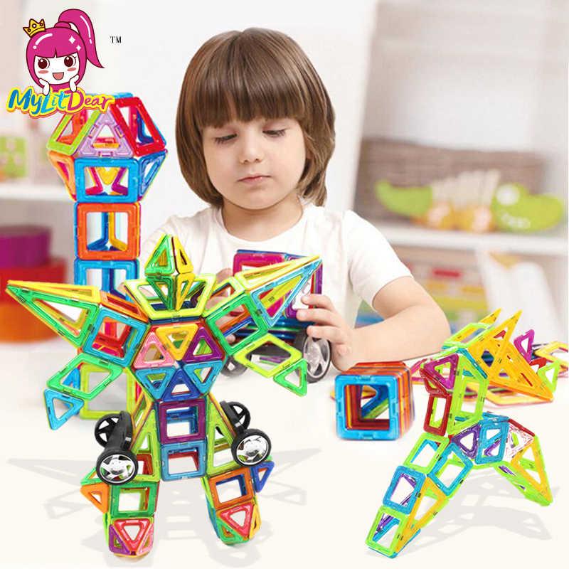 MylitDear 60 Pcs Tamanho Grande Magia Bloco De Construção Caminhão de Brinquedo Magnético Jogo de Empilhamento de Construção Define Tijolos Brinquedos Educativos Para Crianças