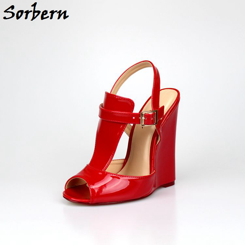 Sorbern Large Size 40-46 Unisex Women Sandals Wedge High Heels Ankle Strap Heels Open Toe Shoes Unisex Designer Sandals New suru designer shoes wedding heels women sexy open toe cut out side summer sandals high heels large size 40 41 42 43 44 45 46 a39