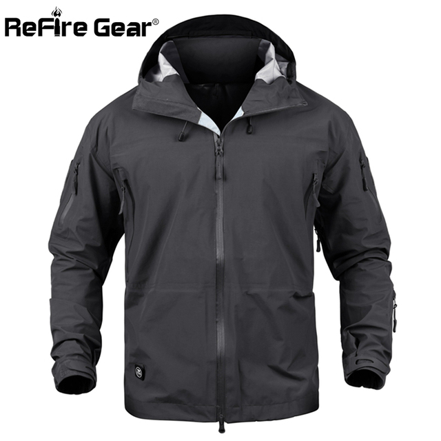 ReFire Gear Hard Shell Military Tactical Jacket Men Waterproof Camouflage Army Jacket Spring Pocket Hoodie Windbreaker Rain Coat