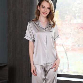 02a3765508 Verano de seda pijamas de satén para mujer de manga corta de color sólido  noble sexy