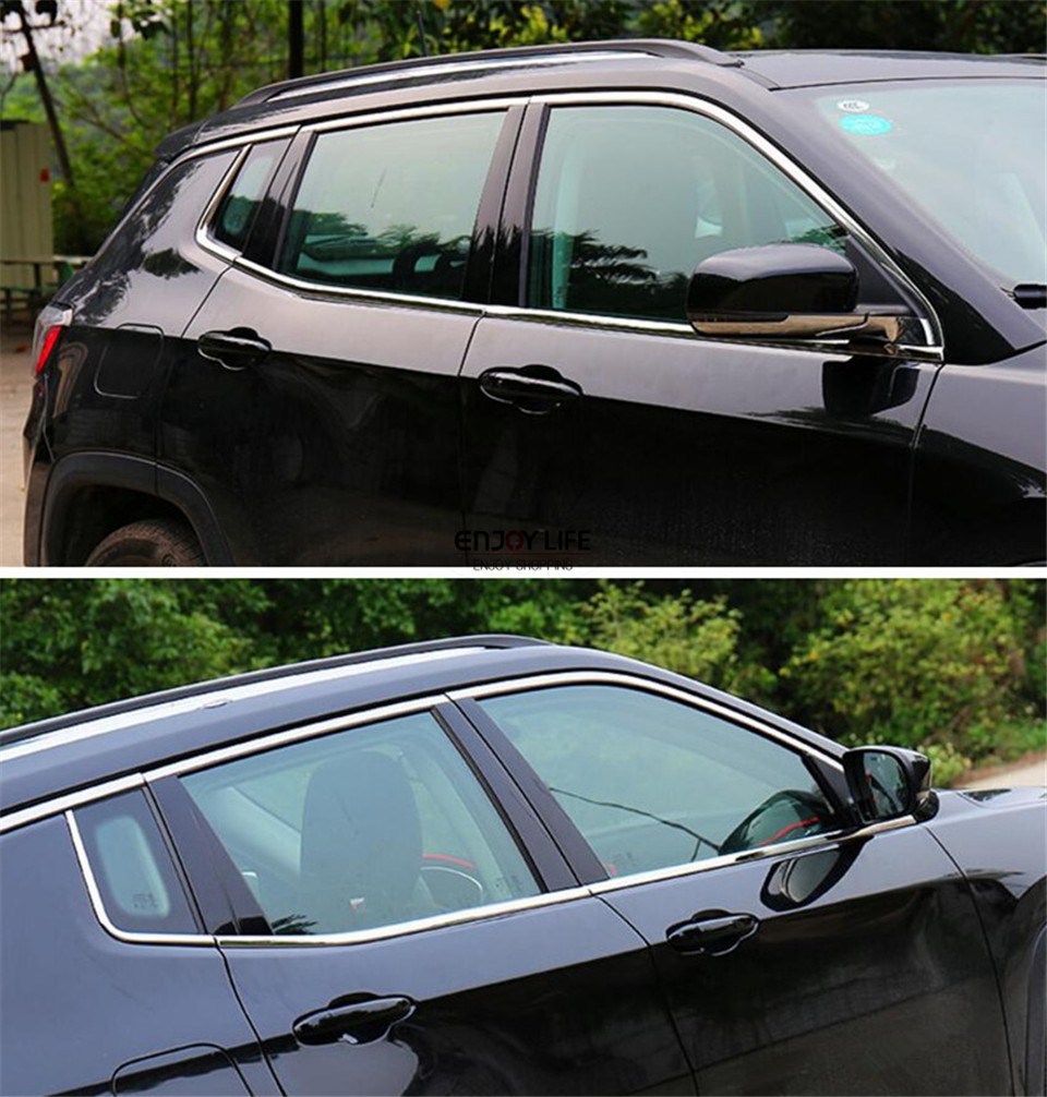 6pcs/set Stainless Steel Under Bottom Window Frame Sill Stripe Cover Molding Trim For Jeep Compass 2017