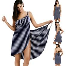 Bath Towel Bathrobe Striped Beach Dress Fast Dry Wash Clothing Wrap Women towels robe de plage beach dress Holiday #