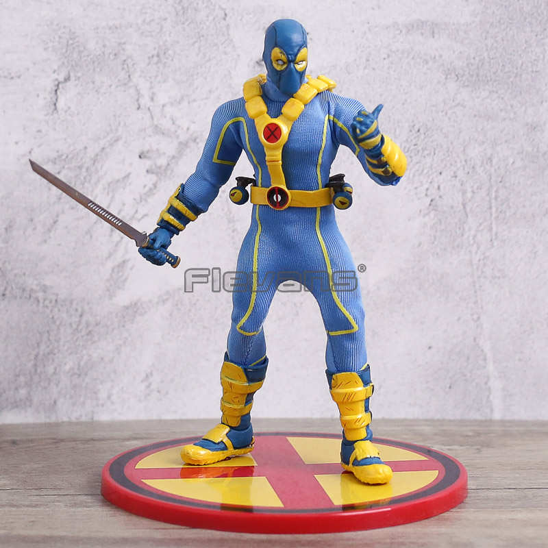Mezco UN: 12 Disply Modèle X-men Deadpool Bleu Bataille Costume Ver. PVC Action Figure Collection Jouet Mobile
