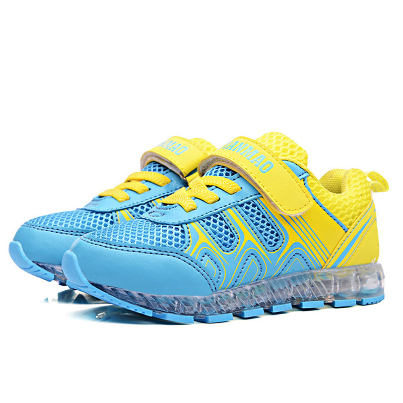 BABAYA USB Charge Air Cushion Children Led Light Shoes Girls Luminous Sneakers Breathable Air Mesh Boys Sport Running Shoes 1168 babaya new children sport shoes casual pu leather white running shoes for 4 12 years old boys and girls kids sneakers size 26 37