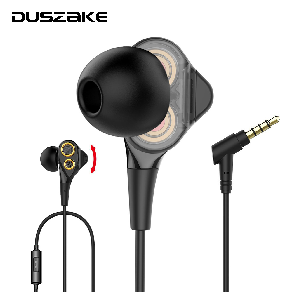 Stereo Bass Dual Drivers Headphones Sport In-Ear Wired Earphones for Phone 3.5mm Earpieces With Mic for iPhone Samsung Xiaomi