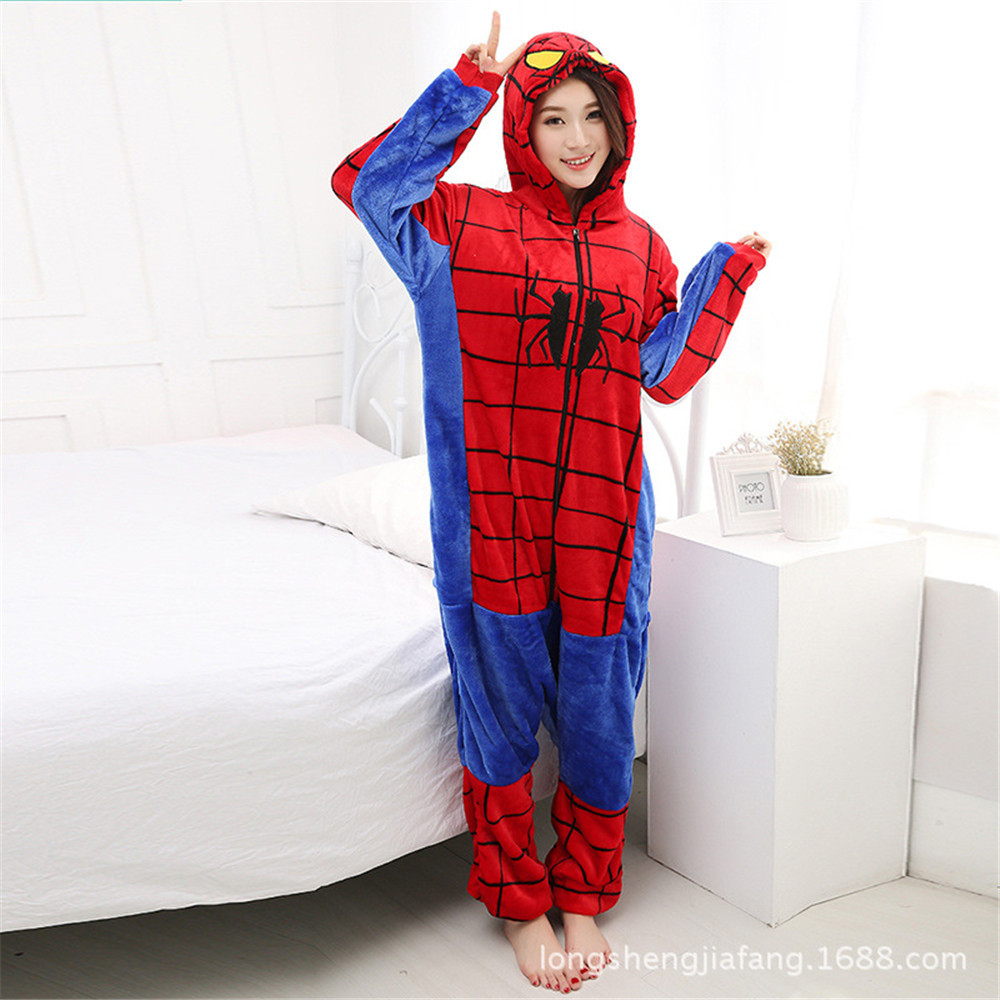 cosplay Spider-Man Iron Man Superman Velvet  Suit Home Wear Adult Winter Hooded Jumpsuits Pajamas Christmas Costumes