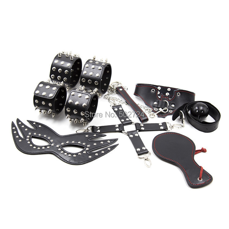 ФОТО Adult games 7in 1 studded handcuffs foorcuffs eye mask mouth gag sex toys Fetish collar bondage restraints sex products