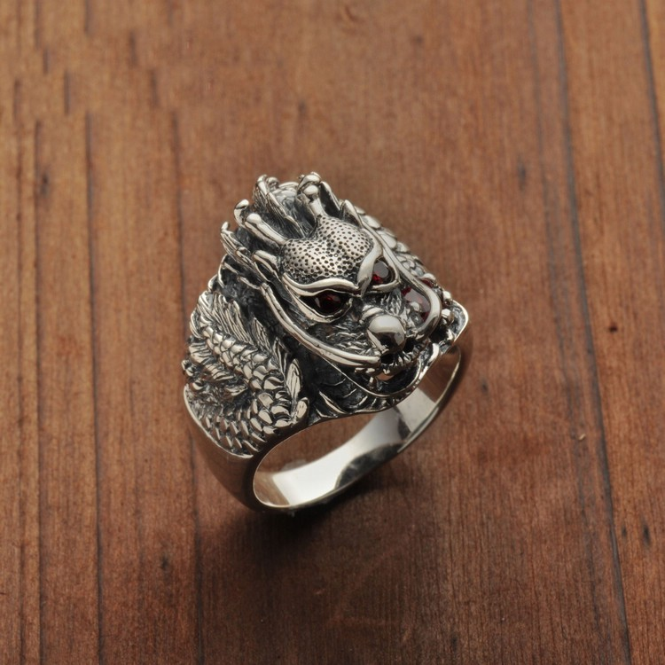 925 Sterling Silver Red Eyes Dragon Ring
