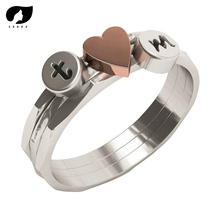 A-Z Rings 26 Letter Ring Initial Pink Heart  Couple For Women Personalized Hand Stamped Stacking Lovers