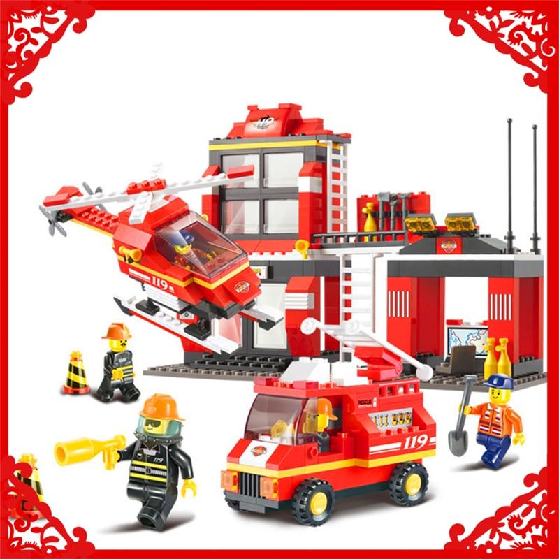 Sluban B0225 City Emergency Firefighter Station Building Block 371Pcs DIY Educational  Toys For Children Compatible Legoe gudi 9217 874pcs city fire station helicopter firemen building block diy educational toys for children compatible legoe