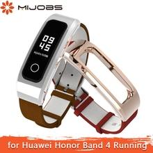 Mijobs สำหรับ Honor Band 4 สายคล้องคอสายรัดข้อมือหนังแท้สำหรับ Huawei Honor Band 4 รองเท้าวิ่งสร้อยข้อมือสมาร์ท watchband