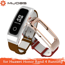 Mijobs for Honor Band 4 Running Strap Genuine Leather Wrist Strap for Huawei Honor Band 4 Running Bracelet Strap Smart Watchband