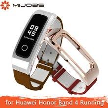 Mijobs pour Honor Band 4 Bracelet de course en cuir véritable Bracelet pour Huawei Honor Band 4 Bracelet de course Bracelet de montre intelligent