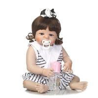 56CM FULL SILICONE REBORN BABY DOLL KIDS PLAYMATE GIFT FOR GIRLS 23 INCH BABY ALIVE SOFT