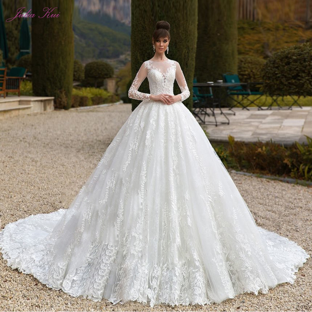 Liyuke Винтаж бальное платье свадебное с элегантной вышивкой аппликации и Часовня Поезд