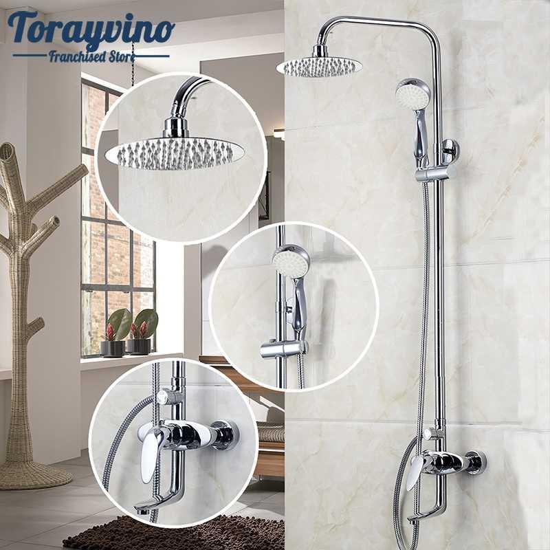 Bad LED Chrom Poliert Wasserfall Regen Dusche Wasserhahn & Hand Dusche Wand Montiert Bad Wasserhahn Und Dusche Set